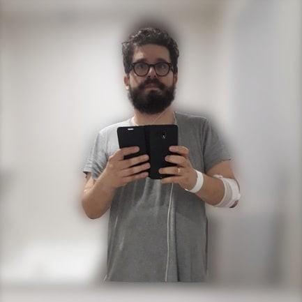 Selfie dalla stanza d'ospedale