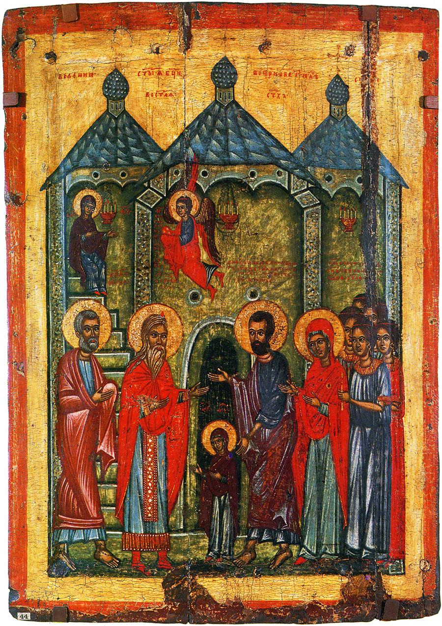 Présentation dans le temple. Une icône du village de Krivoïé. Peinture d'icône traditionnelle de l'école de Novgorod. Première moitié du XIVe siècle.