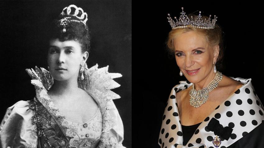 Grã-duquesa Maria Pavlovna (esq.) e princesa Maria Cristina de Kent (dir.).