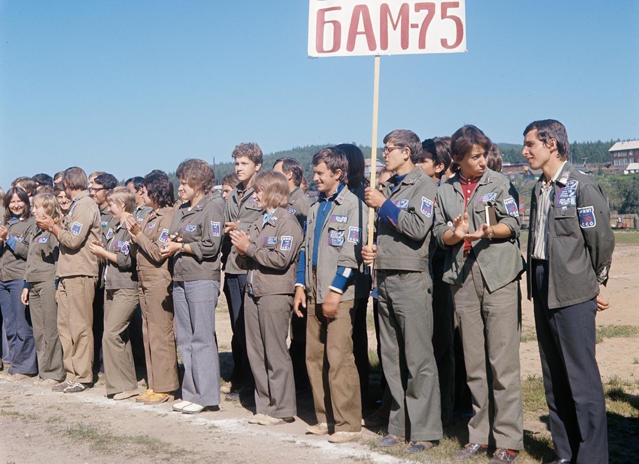 Chantier de la magistrale Baïkal-Amour, brigade étudiante de construction