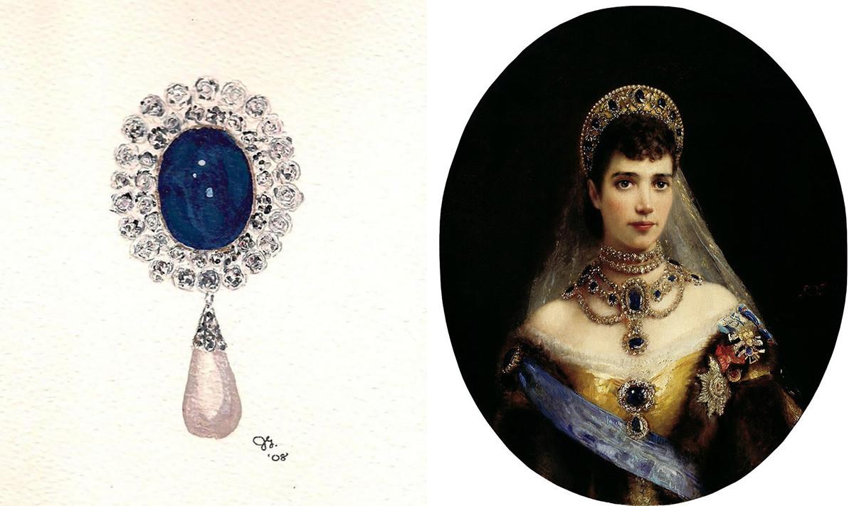 Bros safir dan Permaisuri Maria Fyodorovna mengenakan set lengkap safir yang dijual terpisah setelah revolusi.