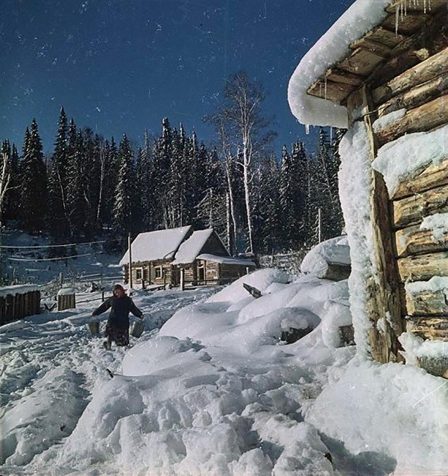 村の冬、1950年代