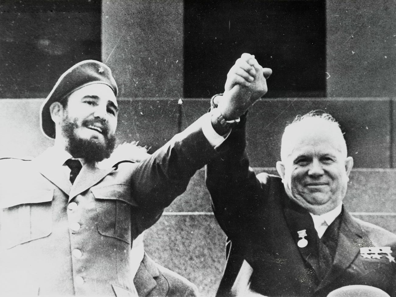 Nikita Khrushchev and Fidel Castro while watching the May Day Parade in Red Square.