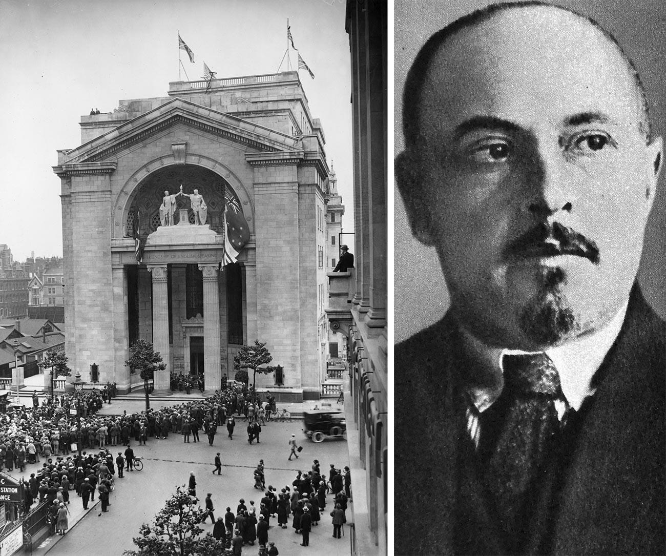 Председател на търговската делегация, г-н Хинчук, представляващ ARCOS 1927. Общоруското кооперативно дружество (ARCOS) е основният орган, отговорен за организирането на англо-руската търговия в ранните дни на Съветска Русия, след развитието на новата икономическа политика на Ленин.