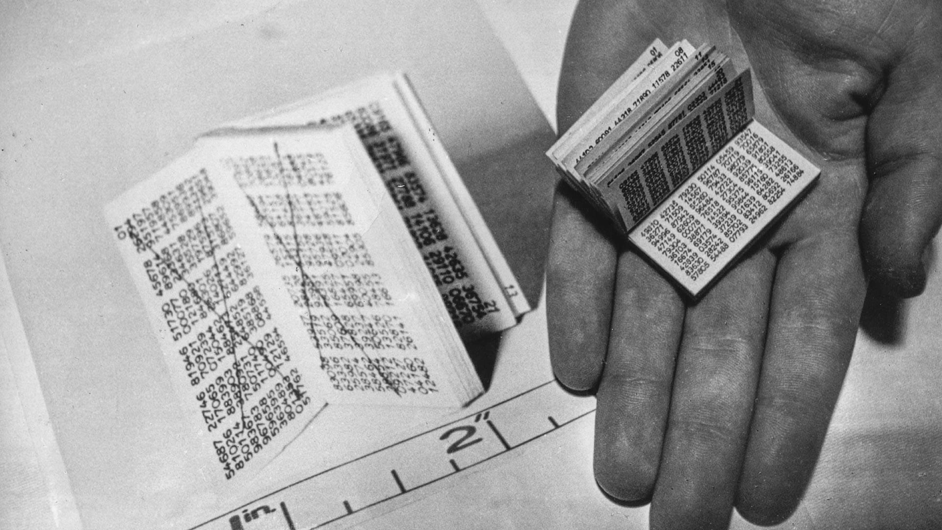 Миниатюрната кодова книга, която съдържа поредица от цифри, която според генералния прокурор сър Елвин Джоунс е била използвана от шпиони за декодиране на съобщения от Москва. Увеличен образ отляво.