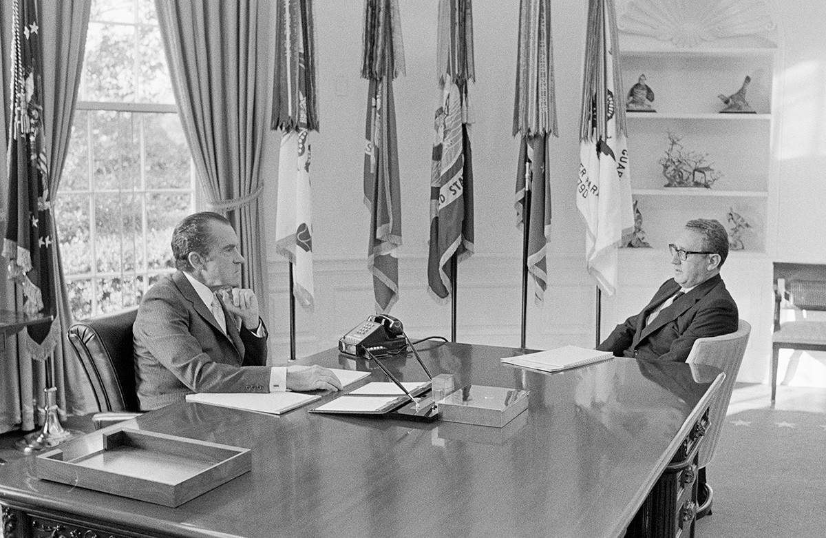 President Richard Nixon meets with National Security Affairs Advisor Henry Kissinger in the Oval Office, 1971