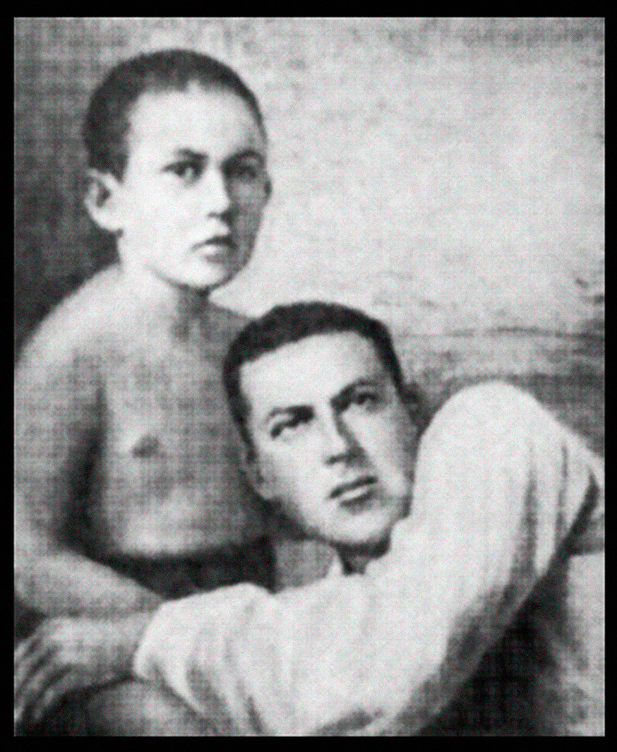 Pyotr Yakir with his father. Photo from A.Larin-Bukharin's 'Unforgettable' book, 2002