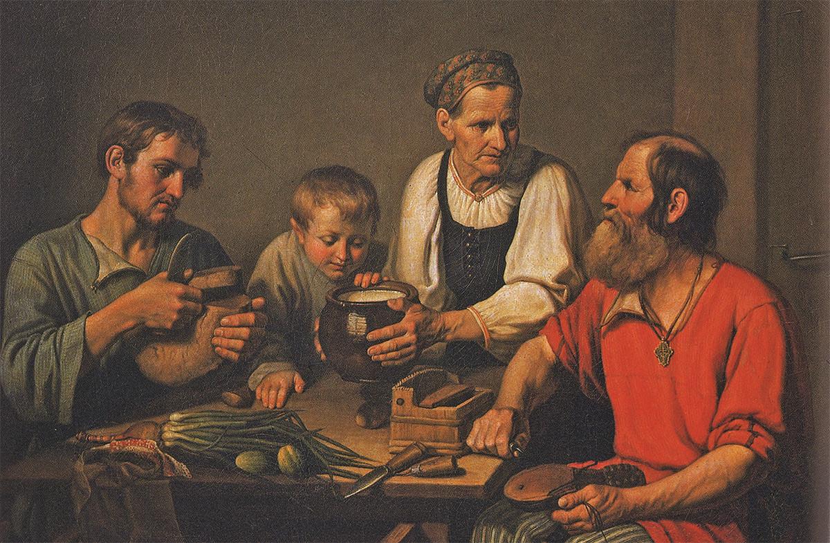 """""""Família de camponeses almoçando"""", 1824. F.Solntsev."""