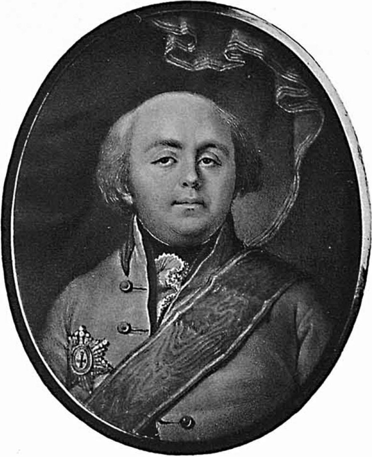 O conde Aleksî Bobrinski, filho ilegítimo de Catarina, no final da vida.