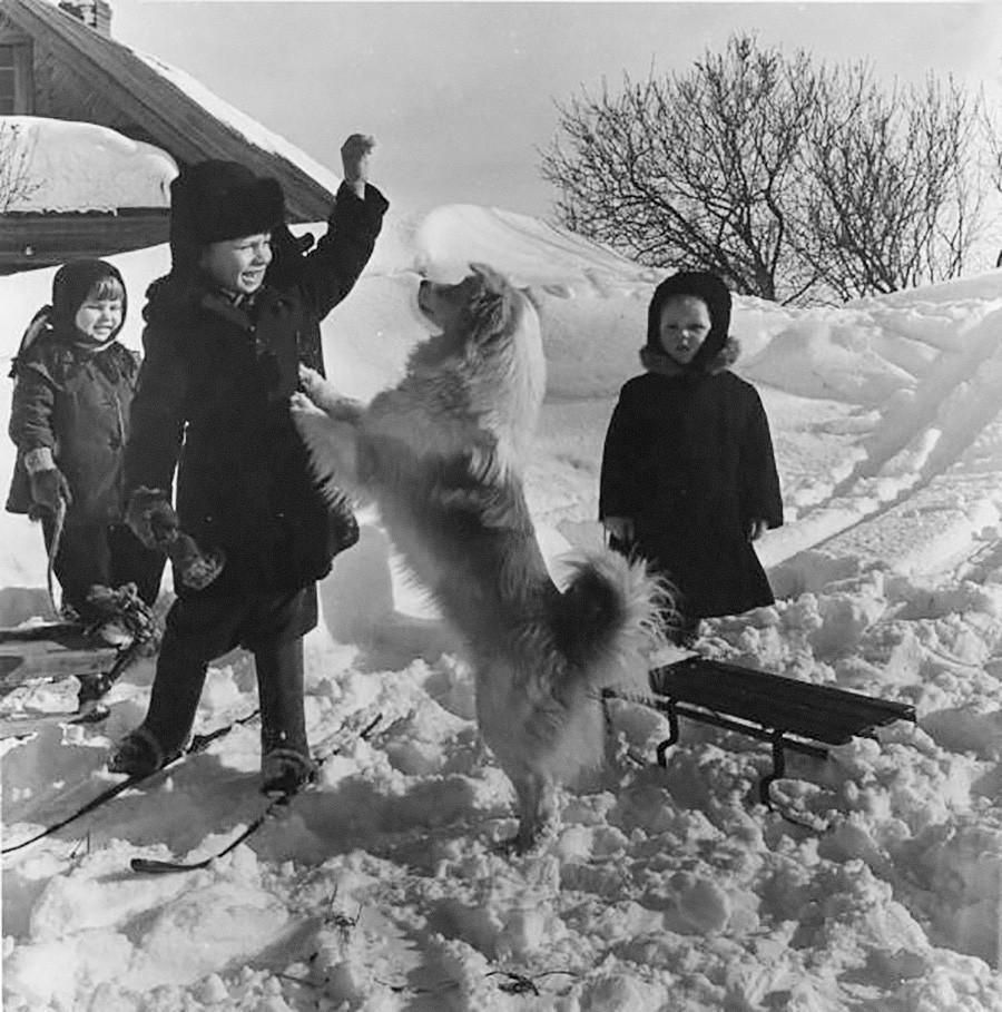 Invierno en granja colectiva, década de 1960