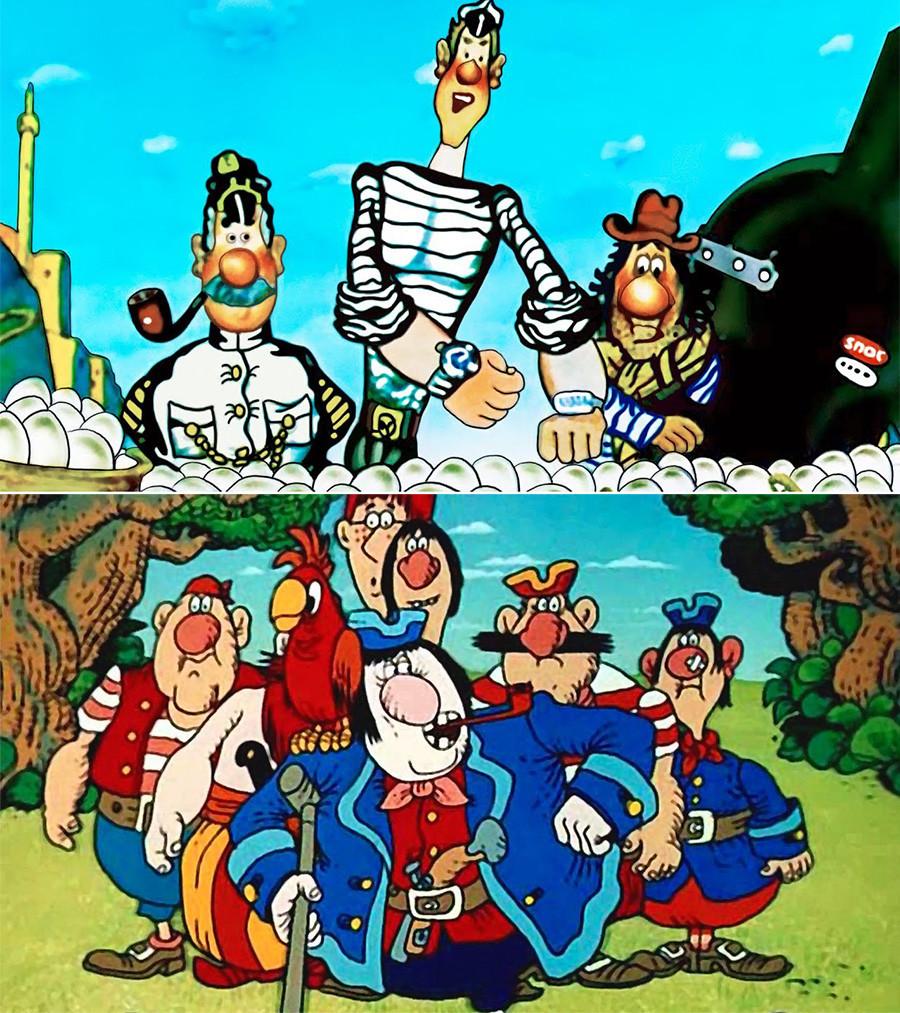 Cenas das animaçóes 'Aventuras do Capitão Wrongel', 'Ilha do Tesouro'