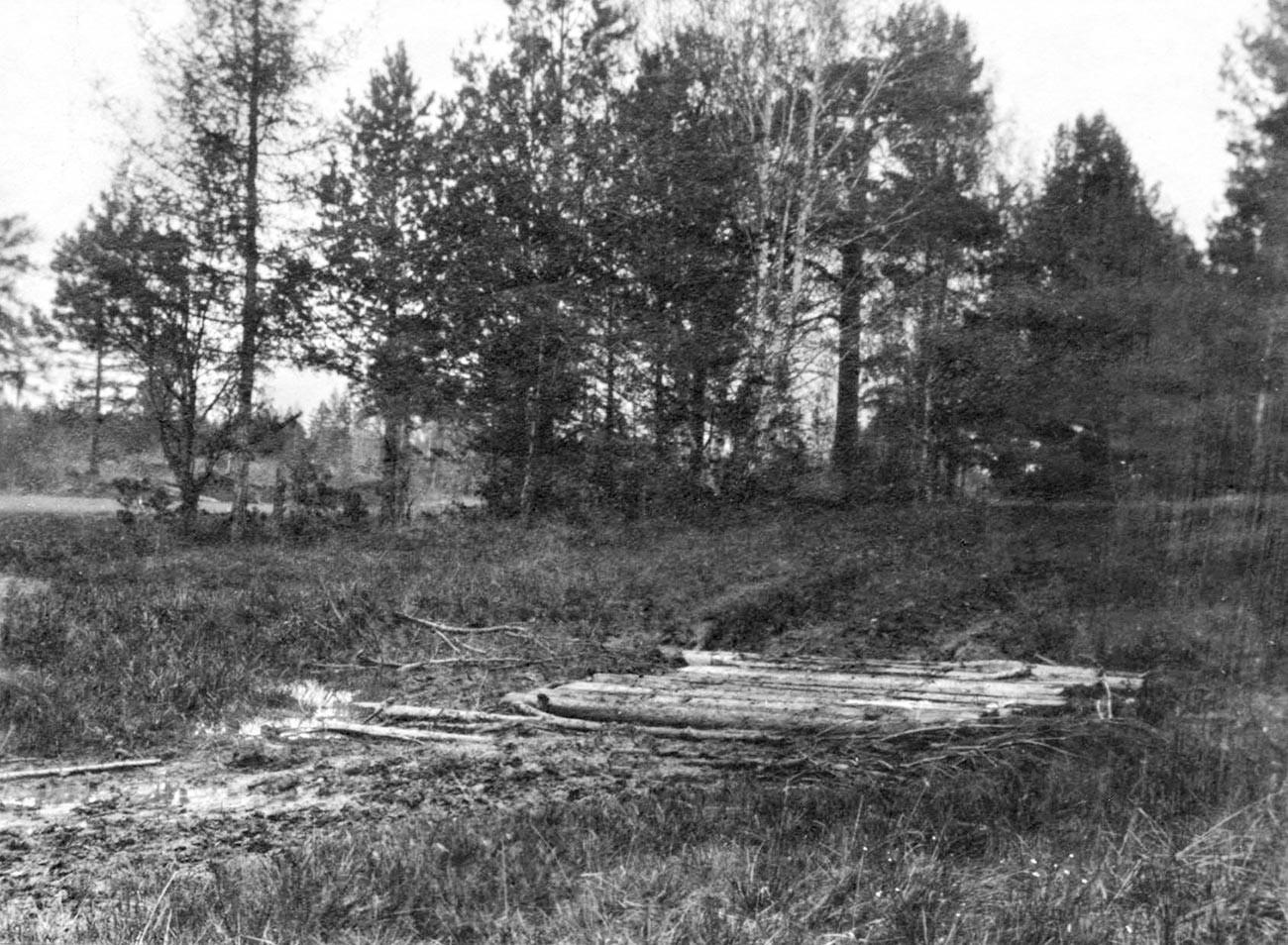 Porosyonkov log. Makam Nikolay II, keluarganya, dan para pelayannya di Jalan Koptyaki di bawah batang-batang pohon dan bantalan rel.