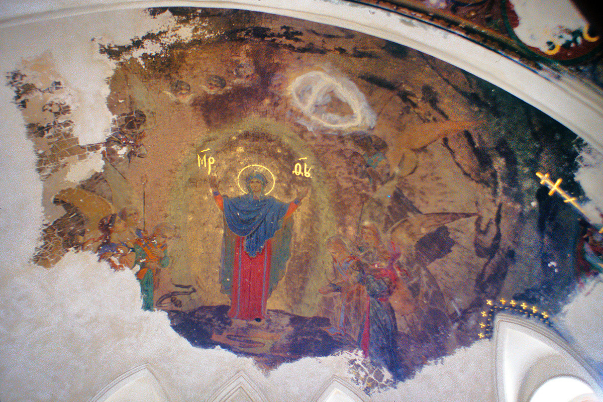 Cathedral of Elevation of the Cross. Wall painting of Virgin Mary in south apse. August 27, 1999.