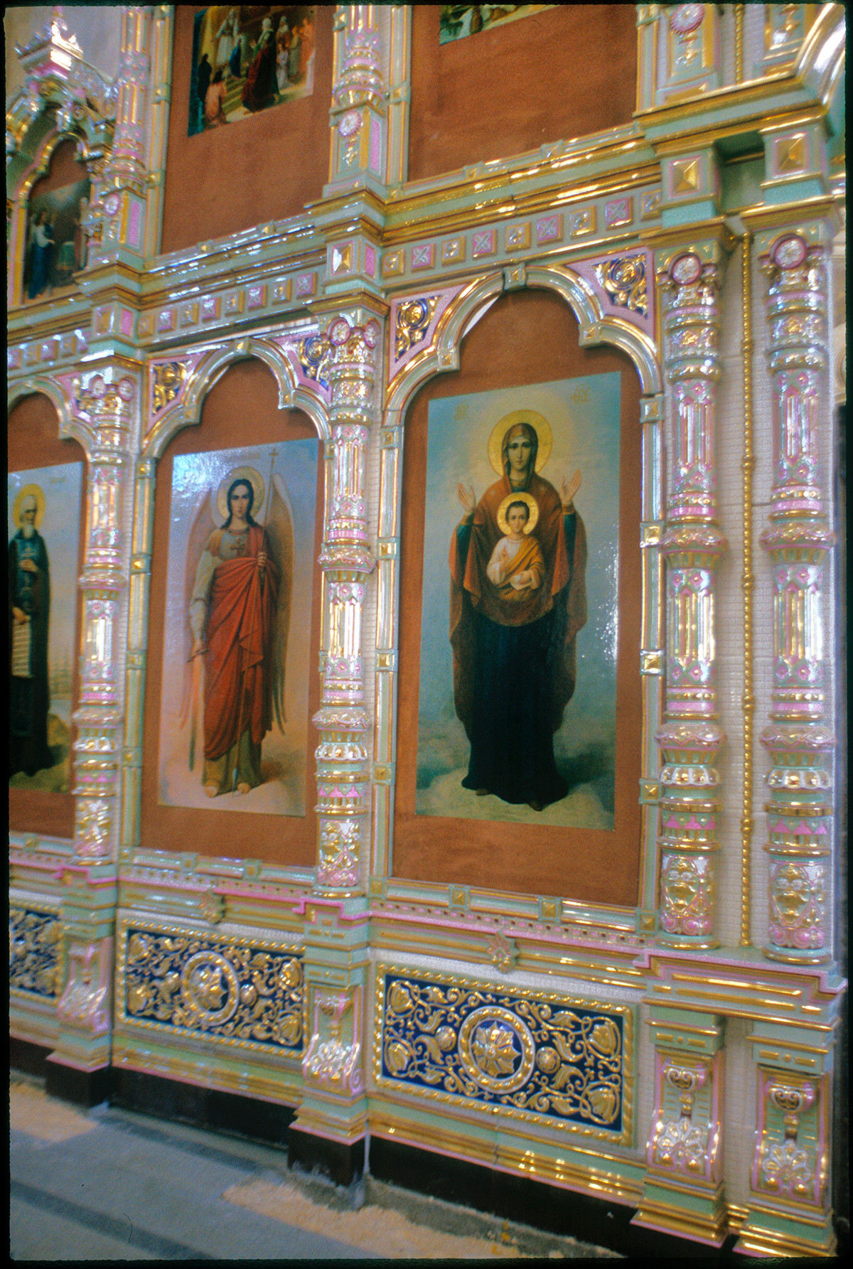 Cathedral of Elevation of the Cross. Rebuilt ceramic icon screen with temporary icon reproductions. August 27, 1999.