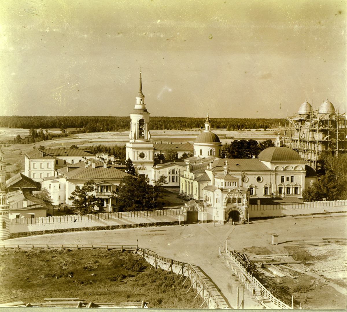 Monastery of St. Nicholas, view northeast from Trinity Cathedral bell tower. Summer 1909.