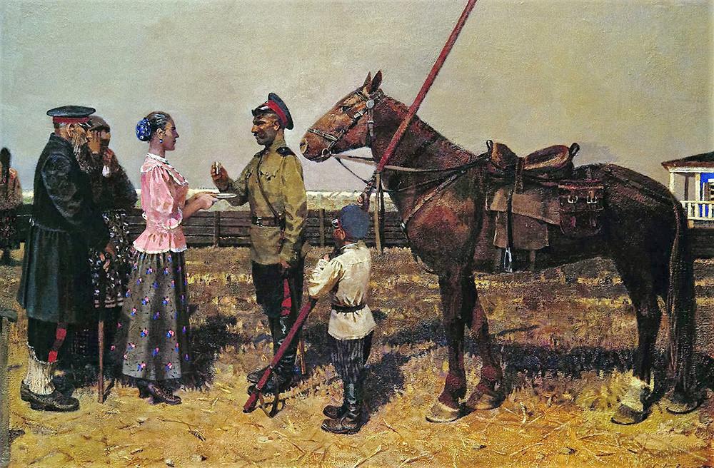 Cossack Seeing-Off. 1999, by Sergey Gavrilyachenko (born 1956).