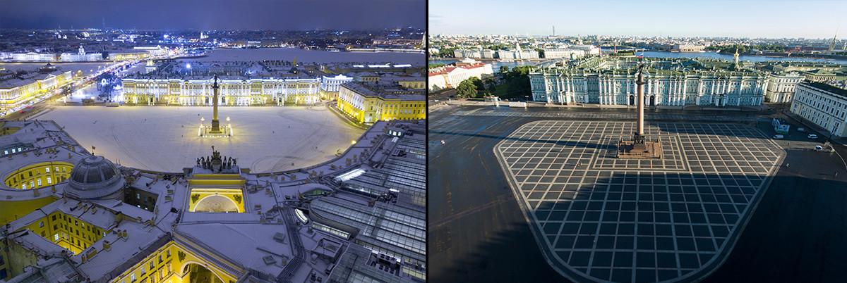 Дворцовият площад отгоре: зимна и лятна гледка