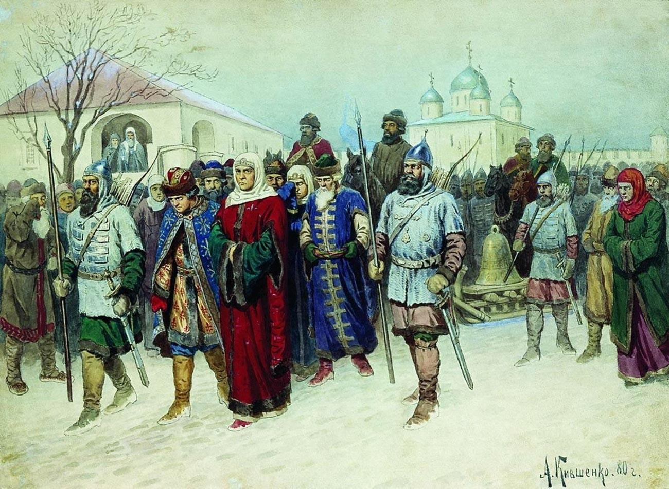 Marta escoltada de Nôvgorod para Moscou.