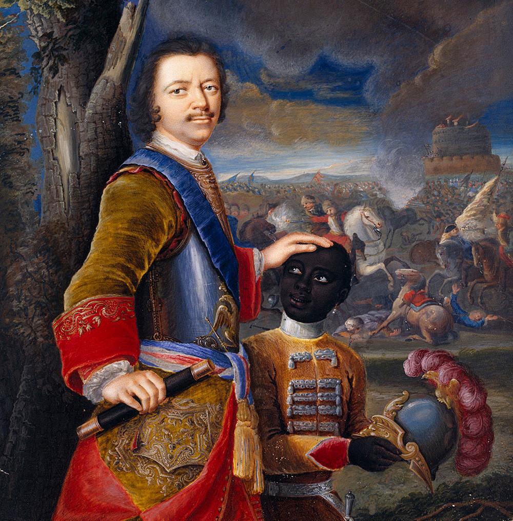 Pyotr yang Agung bersama pelayan mudanya Abram Hannibal, sekitar 1720.