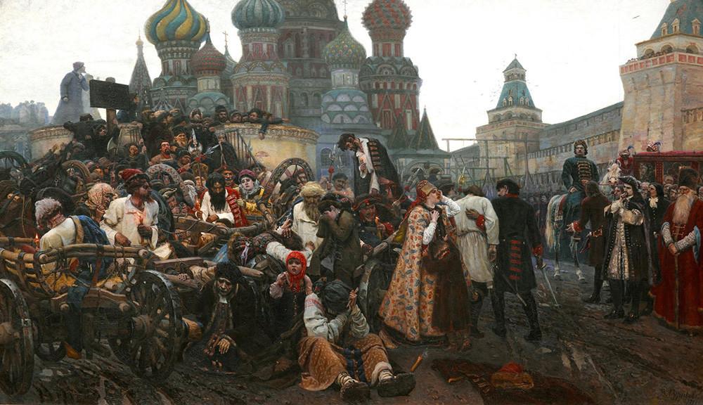 Lukisan berjudul 'Pagi Eksekusi Streltsy', 1881, karya Vasiliy Surikov (1848-1916).