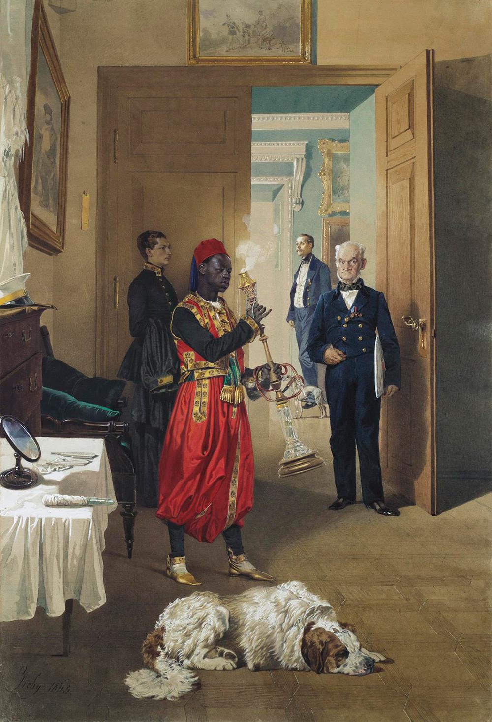 Lukisan berjudul 'Ruang Tunggu di Istana Kekaisaran Tsarskoye Selo,' 1865, karya Mihály Zichy (1827—1906).