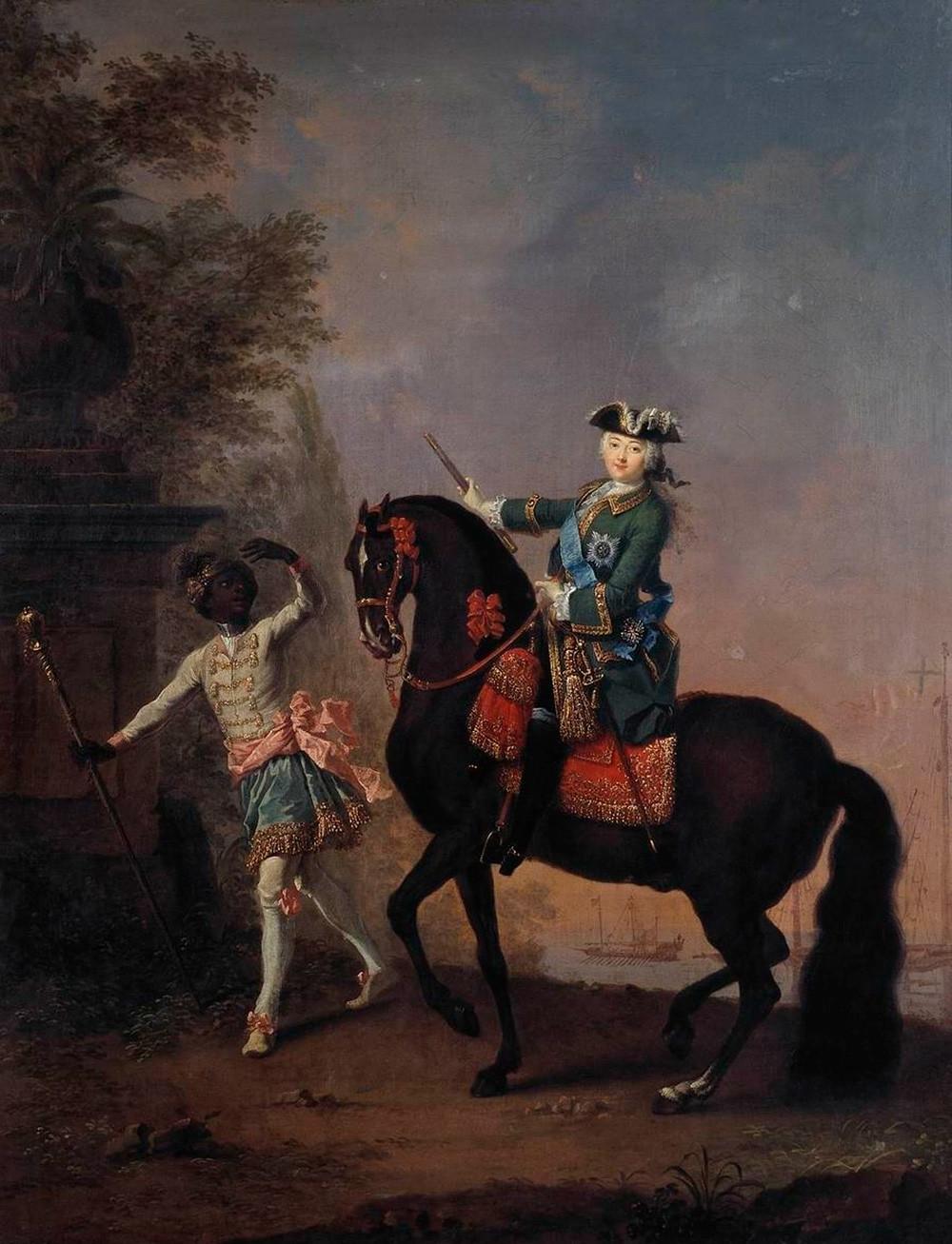 Lukisan berjudul 'Ratu Elizaveta Rusia di Atas Kuda, Diiringi Seorang Pelayan,' 1743, karya Georg Christoph Grooth (1716—1749)
