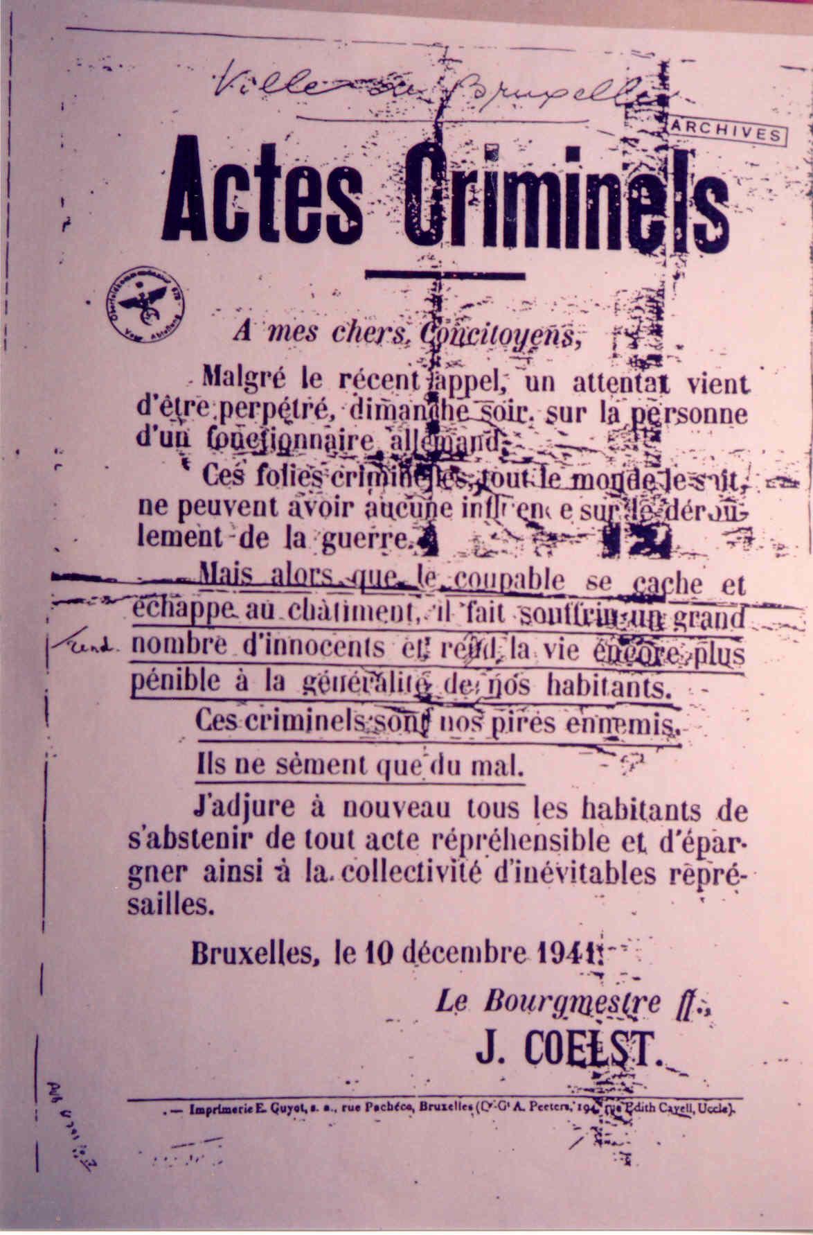 Note du bourgmestre bruxellois Jules Coelst
