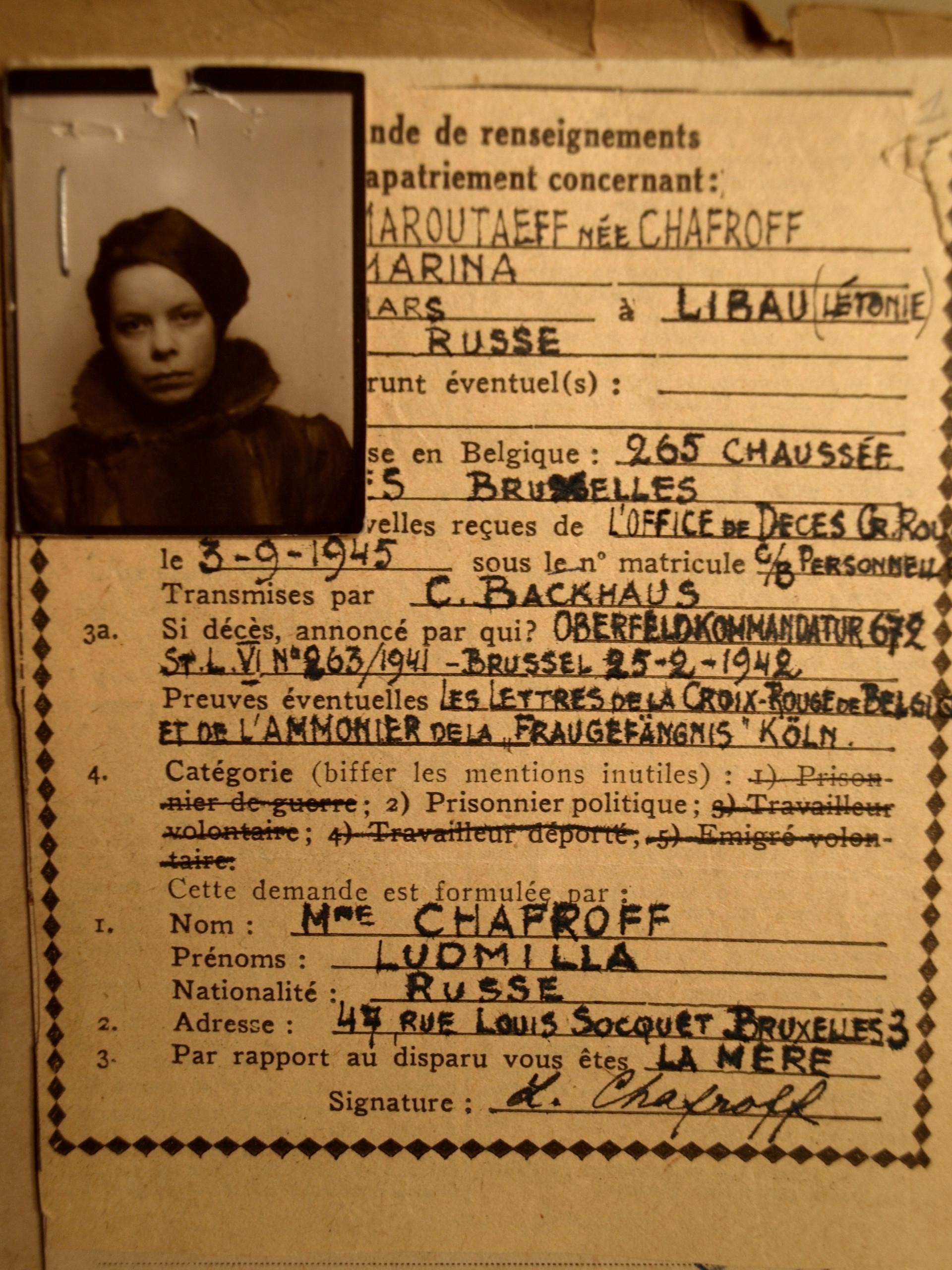 Carte de transfert de Chafrova, émise durant son transfert de la Belgique vers l'Allemagne