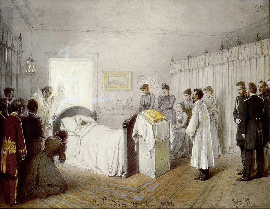 Mihaï Zitchy.Service funéraire du défunt Alexandre III dans la salle du palais de Livadia le 21 octobre 1894. Sur la photo, on ne voit pas Jean de Cronstadt, mais Ioann Ianychev, le confesseur du tsar