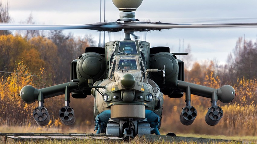 The Mi-28 helicopter is ready for takeoff.