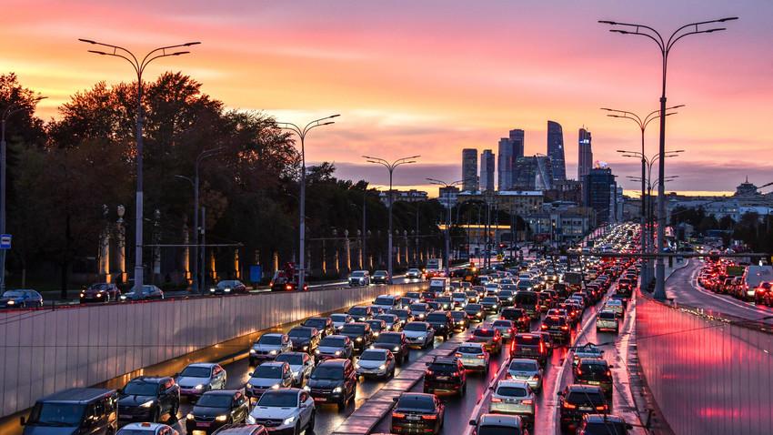 Kemacetan di pusat Kota Moskow.