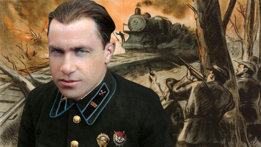 Плакат. Напад на партизаните на воз.