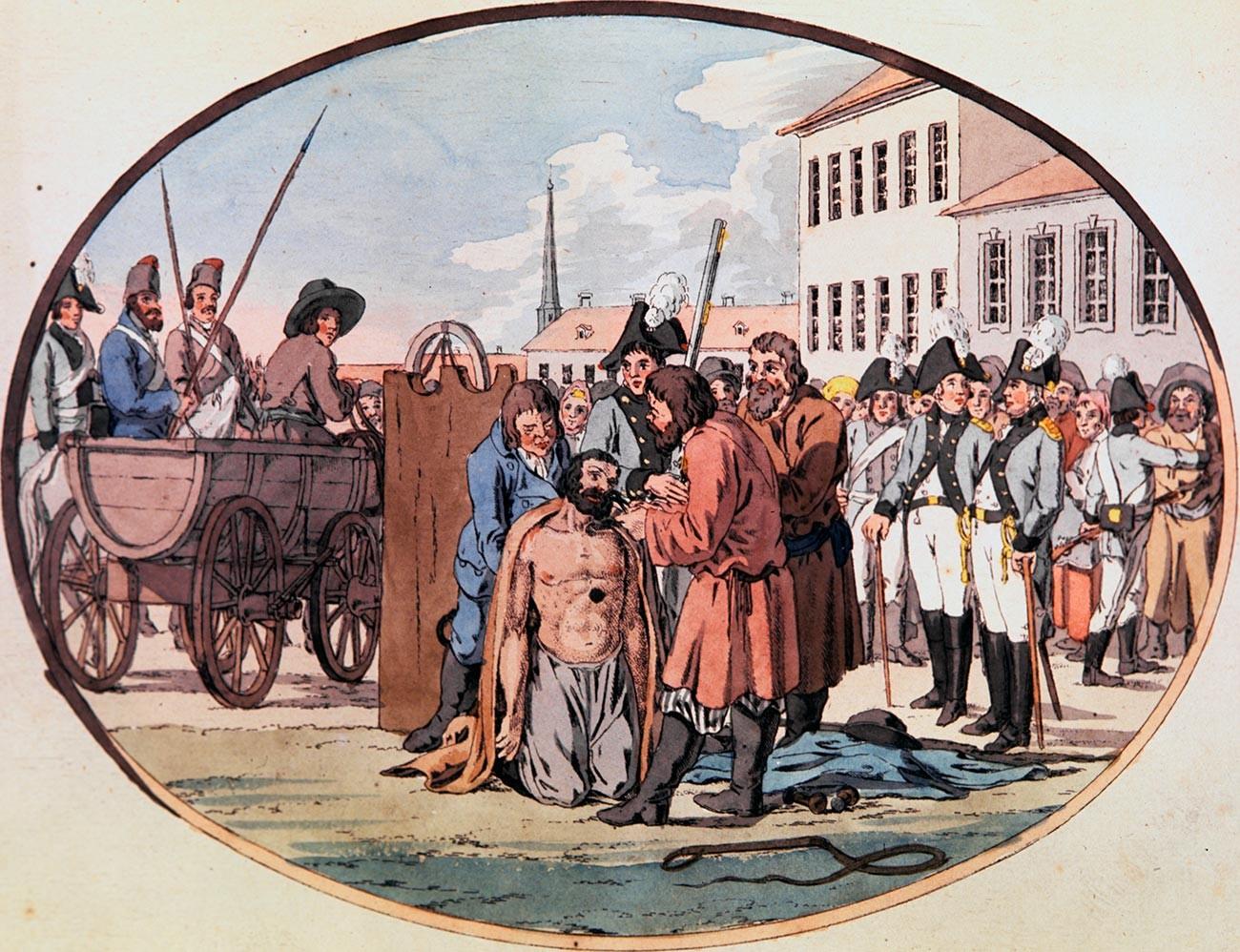 Arrancar las fosas nasales en Rusia, a finales del siglo XVIII