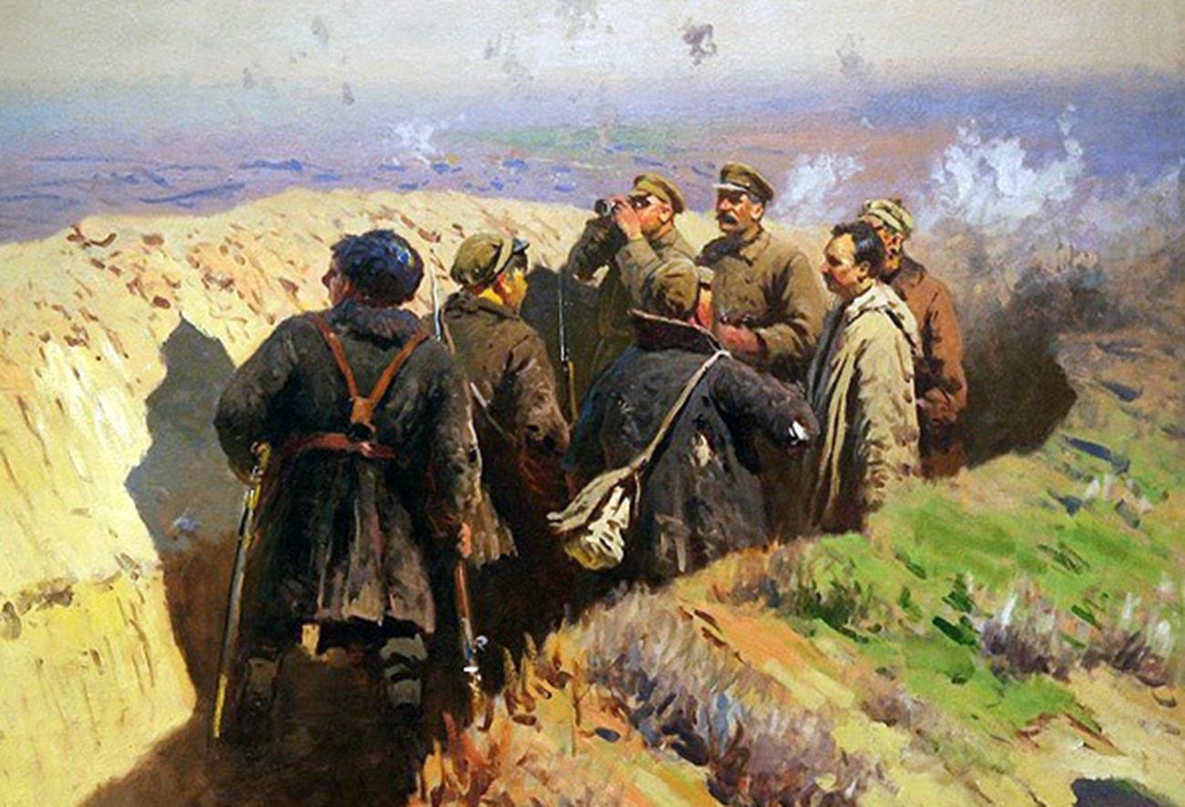 Оборона Царицына. Товарищи Сталин, Ворошилов и Щаденко в окопах под Царицыном