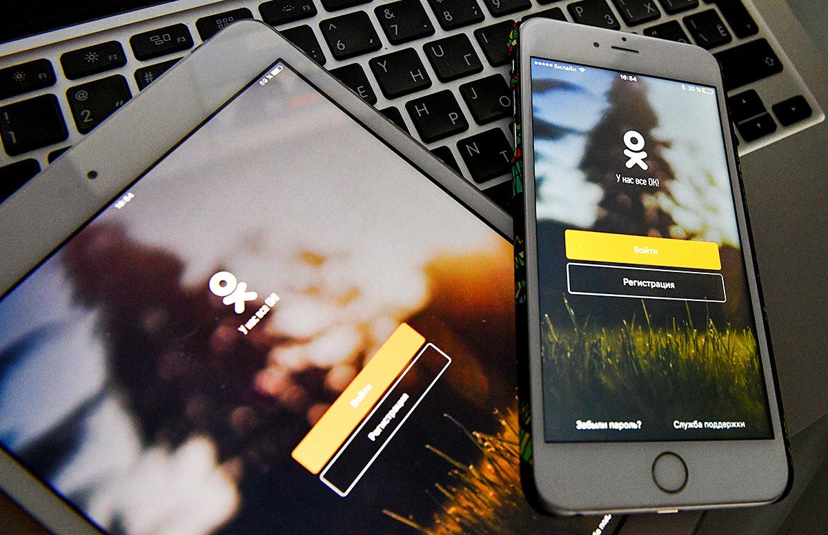 Situs web media sosial Odnoklassniki sebagaimana yang terlihat pada layar ponsel pintar dan tablet.