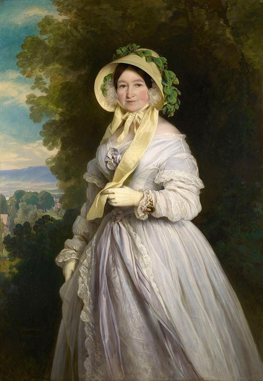 Putri Agung Anna Fyodorovna dari Rusia (1781—1860), yang bernama lahir Princess Julianne dari Saxe-Coburg-Saalfeld, karya Franz Xaver Winterhalter.