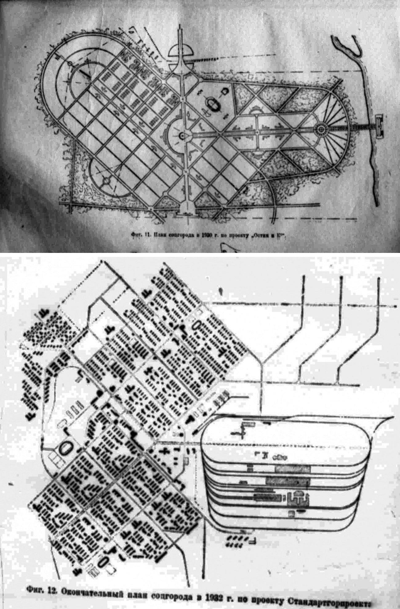 Ci-dessus : une variante du développement du village selon le plan de la société Ostin. Ci-dessous : le plan de développement du village approuvé