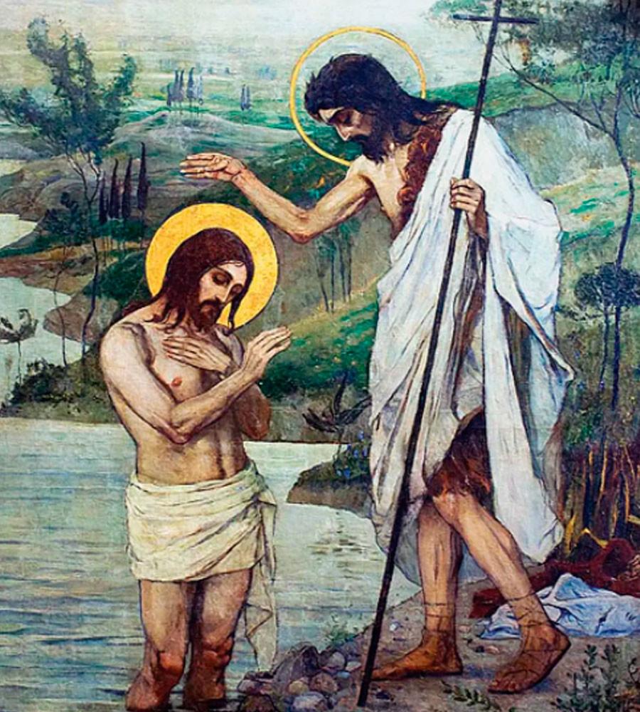 Mikhaïl Nesterov. Baptême du Christ (peinture murale dans la cathédrale Saint-Vladimir, Kiev), années 1890
