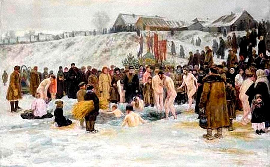 Nikolaï Grandkovski. Bain après la bénédiction des eaux de la Théophanie, 1903