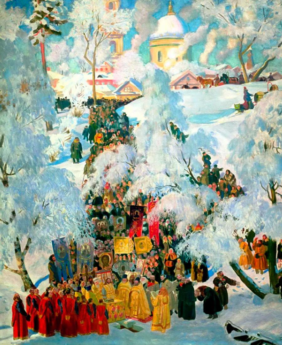 Boris Koustodiev. La bénédiction des eaux à la Théophanie. 1921
