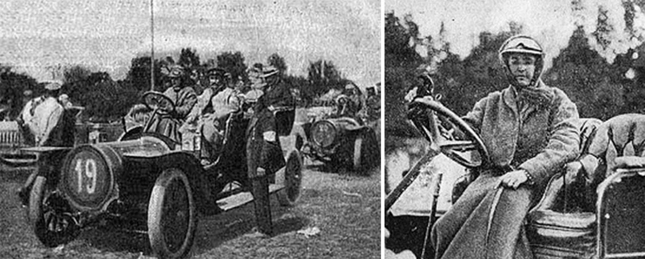 Sofia Dolgorukova di belakang kemudi pada Reli Internasional Piala Kaisar Nikolai II, 1910.