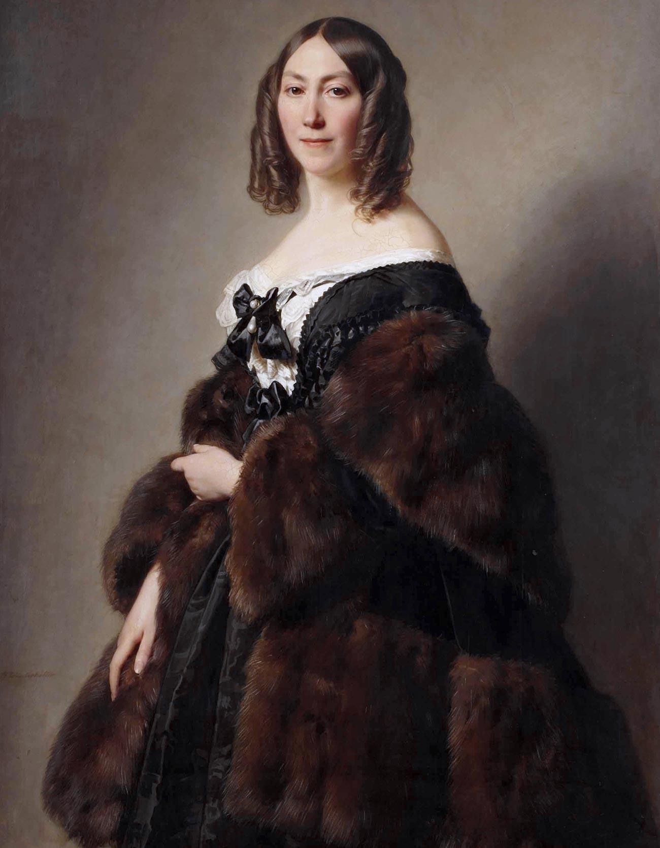 La philanthrope française Cécile Furtado-Heine portant de la fourrure de zibeline. Portrait par Hermann Winterhalter