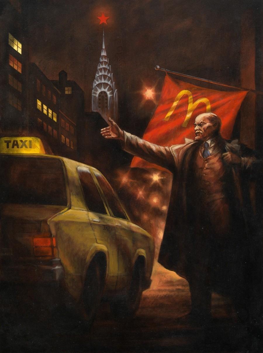 """Komar e A. Melamid. Lenin Chama Táxi em Nova York, da serie """"Realismo Socialista Nostálgico"""", 1993"""