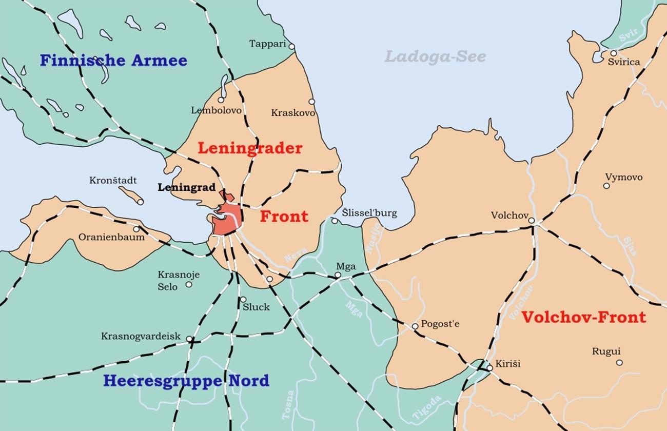 Мапа Лењинграда под опсадом.