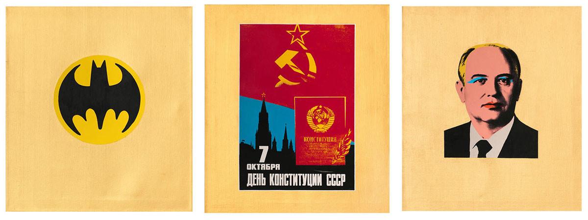 Alexander Kosolapov. Gorbachev (triptych), 1990.