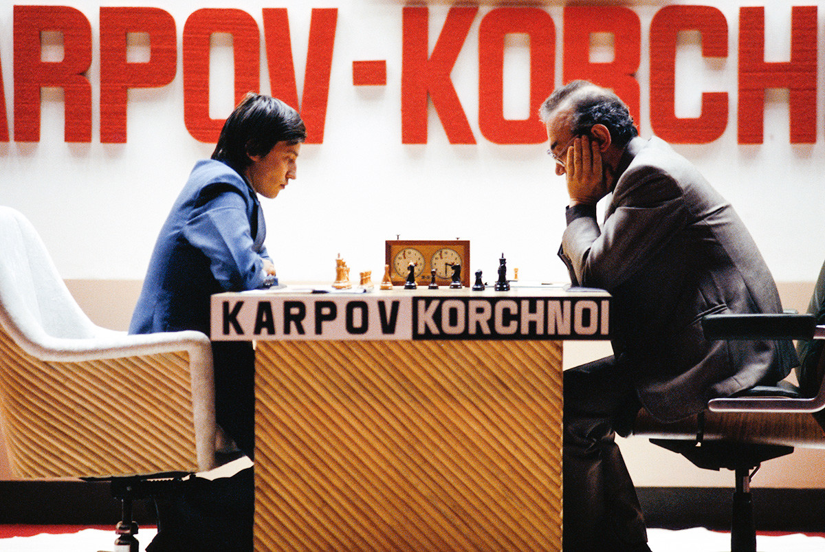 Anatoly Karpov and Viktor Korchnoy compete in the 1978 World Chess Championships in the Philippines.