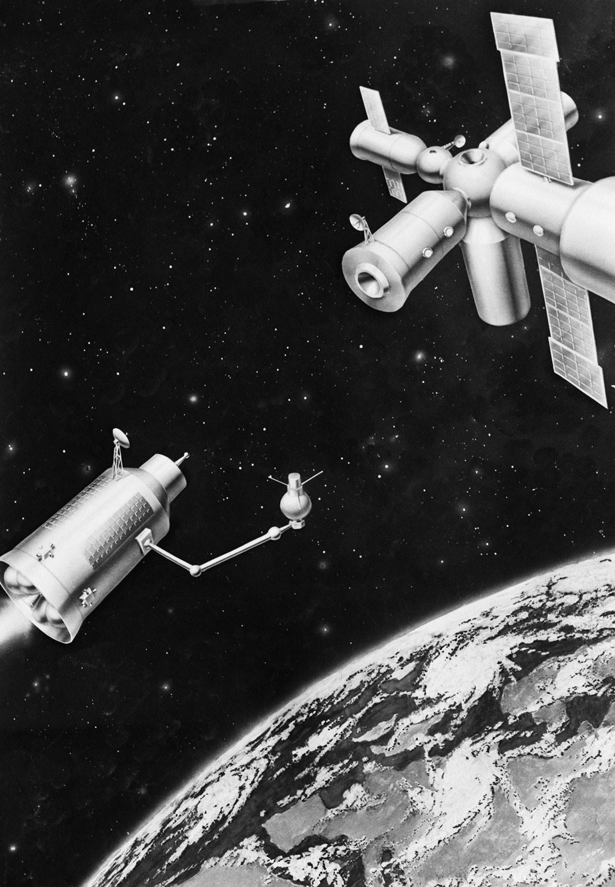 Disegno schematico di un razzo di ritorno da Marte con una stazione spaziale nell'orbita terrestre. URSS, 1° marzo 1988