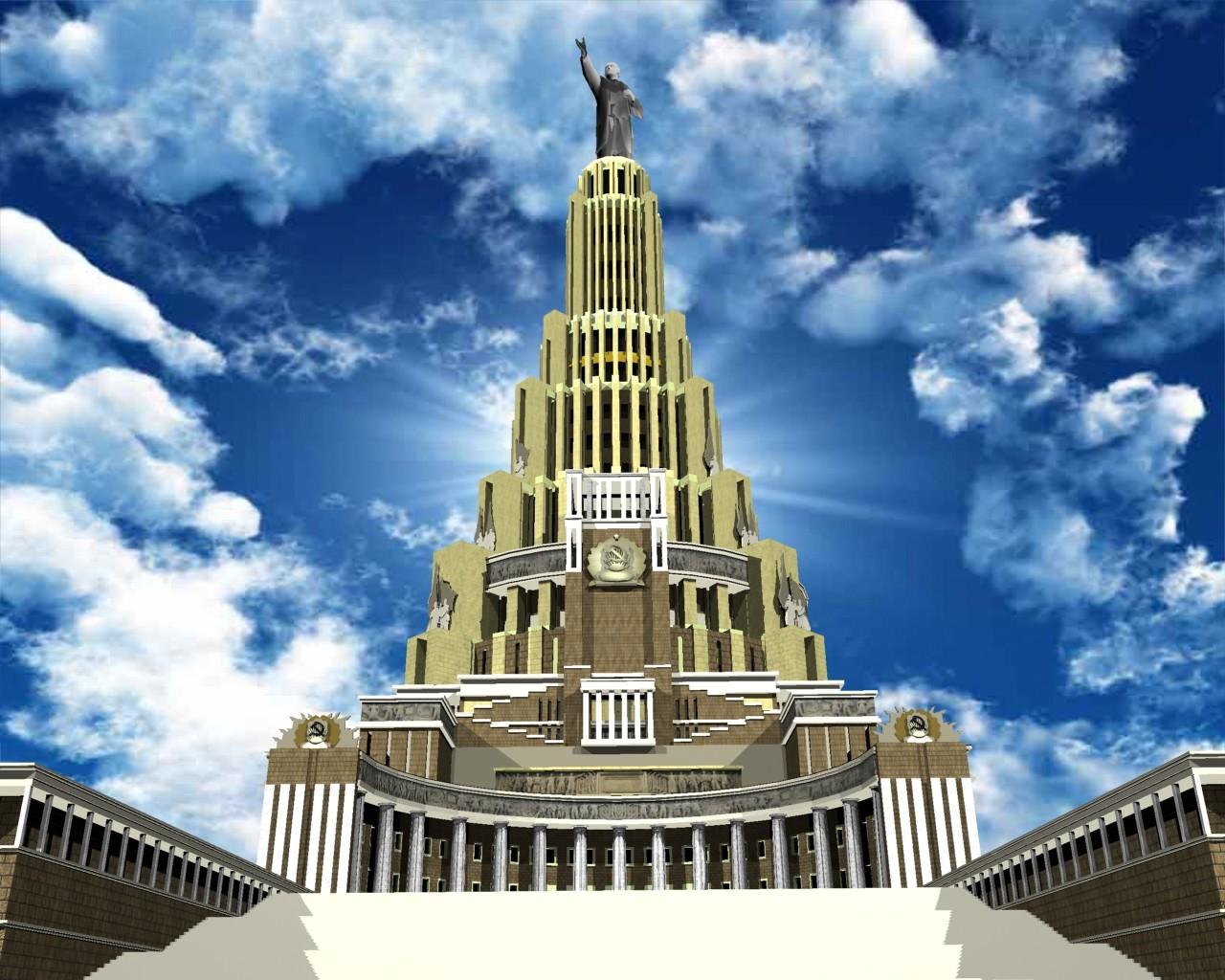 Il Palazzo dei Soviet realizzato in 3D sulla base di un progetto degli anni '30