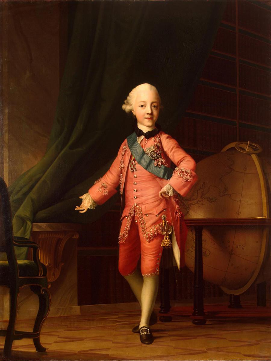 Вигилиј Ериксен. 1722-1782 Портрет на великиот кнез Павел Петрович во училницата