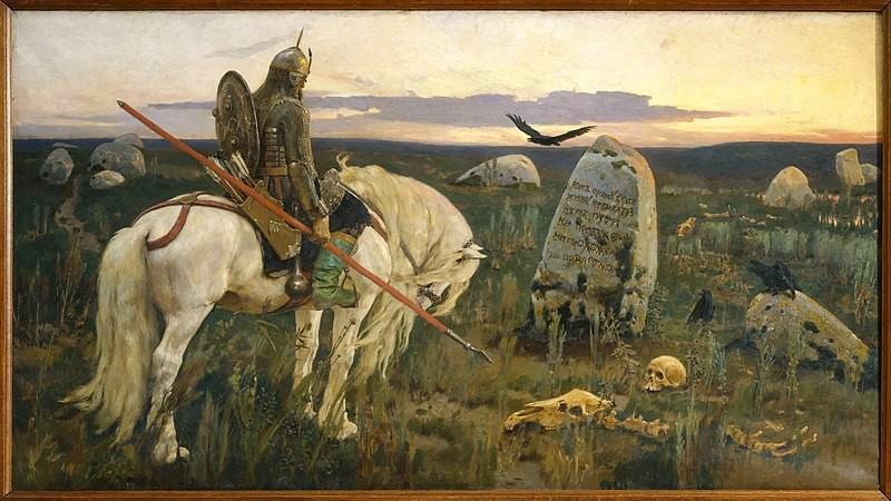 """""""Caballero en Cruce de Caminos"""" (""""Витязь на распутье"""") pintado por el artista ruso Viktor Vasnetsov en 1878."""